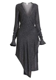Chloé Lurex Poet-Sleeve Asymmetric Midi Dress