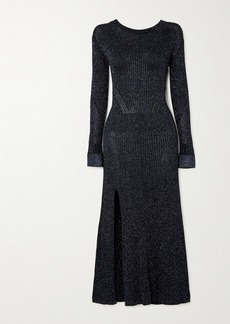 Chloé Metallic Ribbed-knit Midi Dress
