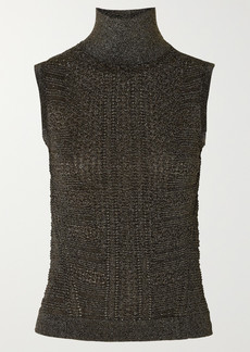 Chloé Metallic Ribbed-knit Turtleneck Top