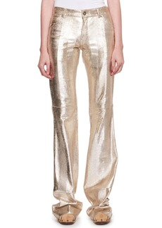Chloé Metallic Textured Leather Flared Pants