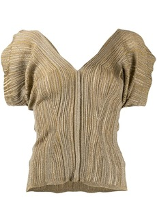 Chloé metallic-thread rib-knit top