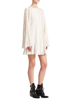 Chloé Mixed Lace Sleeve A-Line Dress