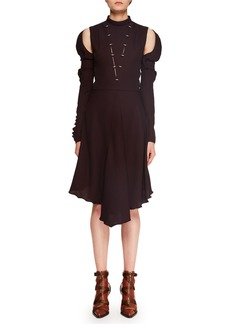 Chloé Mock-Neck Cutout-Shoulder Silk Crepe Dress