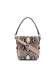 Chloé nude and brown roy mini snake print leather bucket bag