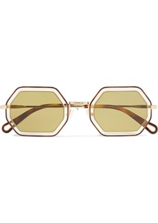 Chloé Octagon-frame Gold-tone And Acetate Sunglasses