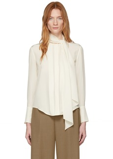 Chloé Off-White Silk Neck-Tie Blouse