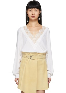 Chloé Off-White Wool & Silk Lace V-Neck Sweater