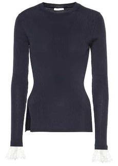 Chloé Organza-trimmed ribbed-knit sweater