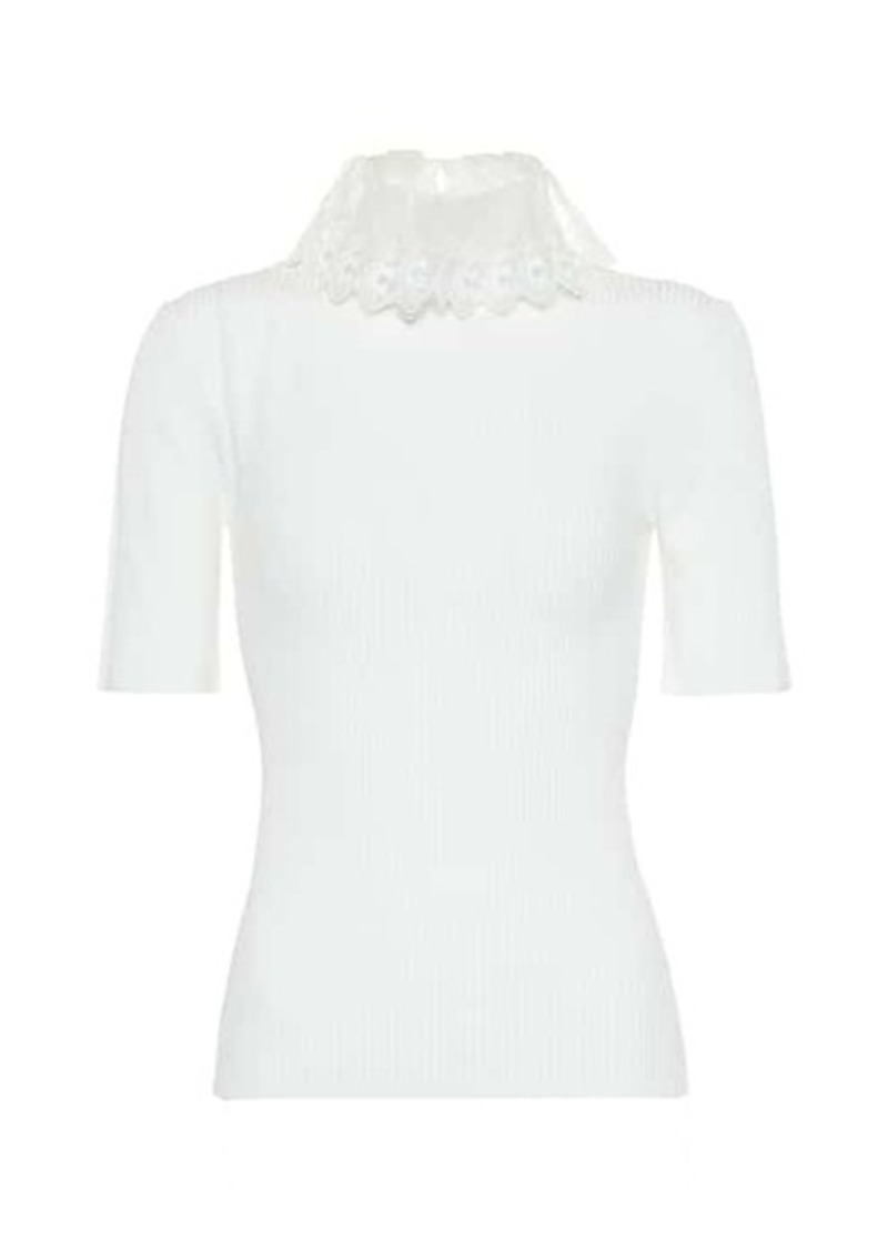 Chloé Organza-trimmed ribbed-knit top
