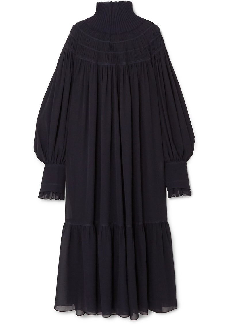 Chloé Oversized Ribbed Wool And Pleated Silk-chiffon Maxi Dress