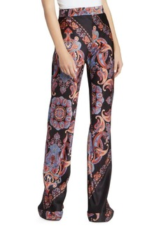 Chloé Paisley Satin Wide-Leg Pants