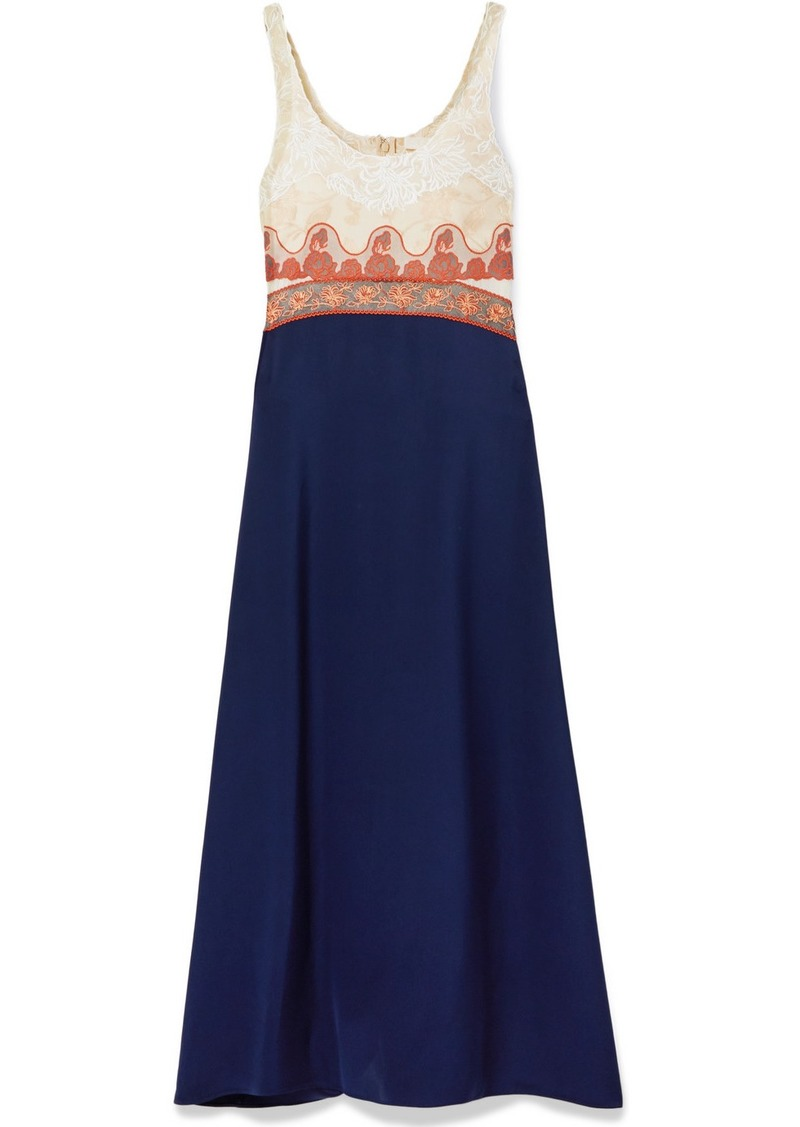 Chloé Paneled Embroidered Tulle, Jacquard, Chiffon And Satin Midi Dress