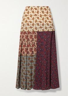 Chloé Patchwork Paisley-print Silk Crepe De Chine Midi Skirt