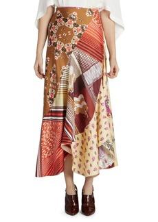 Chloé Patchwork Silk Ruffled Midi Skirt