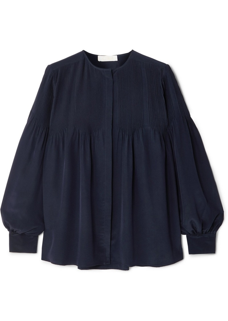 Chloé Pintucked Silk Blouse
