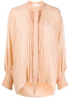 Chloé pleated bib long-sleeved shirt