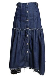 Chloé Pleated Button Front Denim Midi Skirt