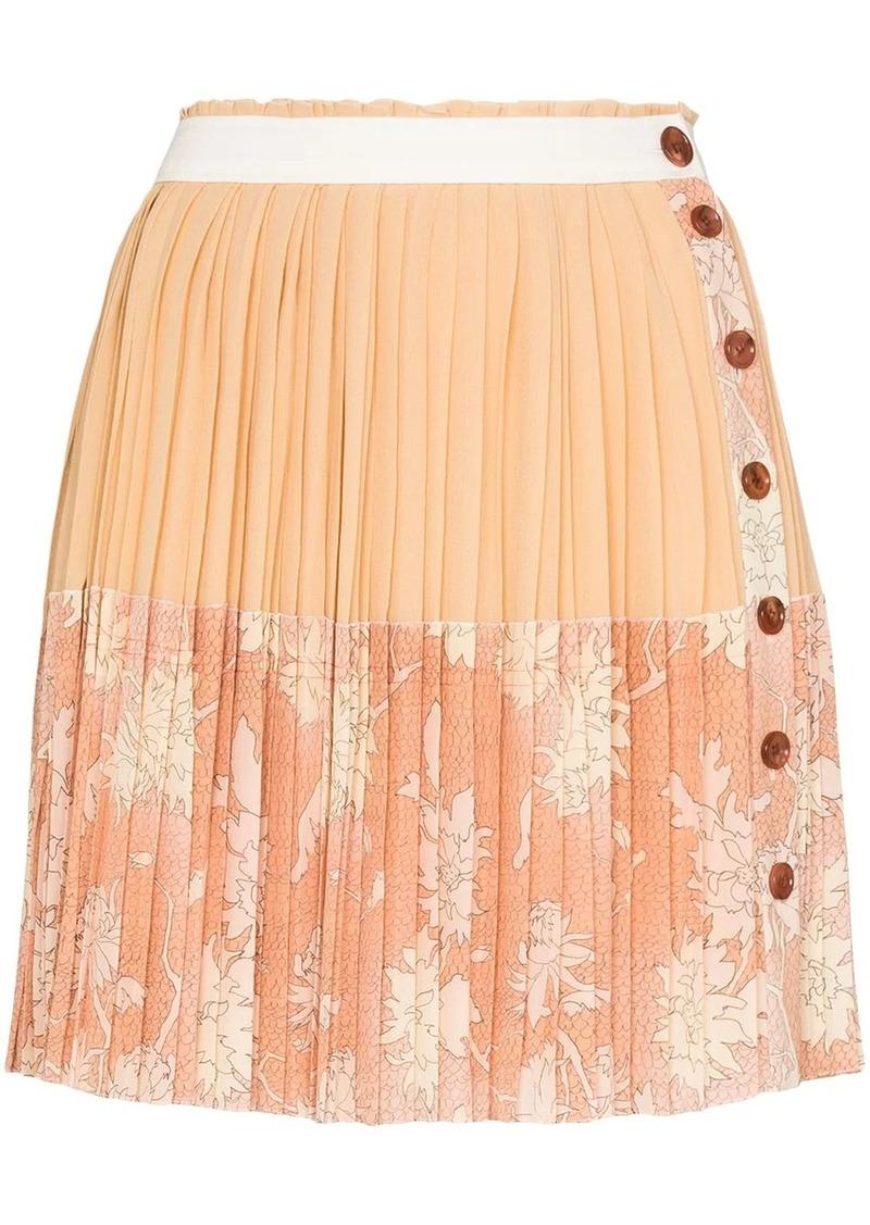Chloé pleated floral-print silk mini skirt