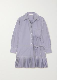Chloé Pleated Striped Cotton-poplin Mini Dress
