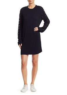 Chloé Plissé Jersey Mesh Cable Knit-Trim Sweater Dress