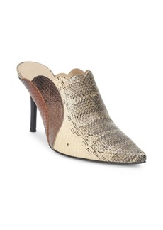 Chloé Pointy Lauren Snake-Print Leather Mules