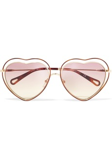 Chloé Poppy Love Heart-shaped Acetate And Gold-tone Sunglasses