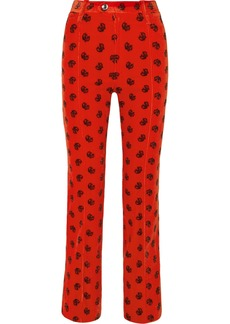 Chloé Printed Cotton-blend Corduroy Slim-leg Pants