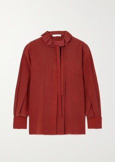 Chloé Pussy-bow Embroidered Ruffled Silk-crepe Blouse