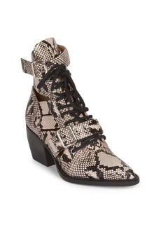Chloé Python Print Leather Lace-Up Ankle Boots