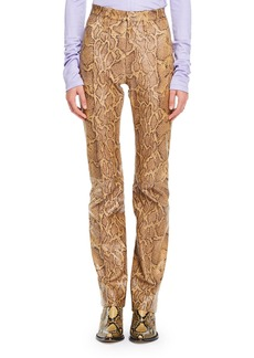 Chloé Python-Print Straight-Leg Leather Pants
