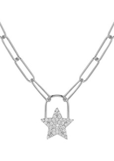Chloé Rhodium-Plated Sterling Silver & Cubic Zirconia Star Padlock Pendant Necklace