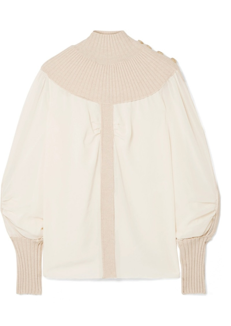 Chloé Ribbed Wool-blend And Silk-chiffon Turtleneck Top
