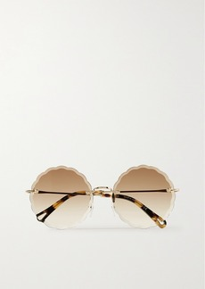 Chloé Rosie Round-frame Gold-tone And Tortoiseshell Acetate Sunglasses