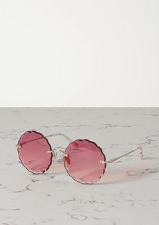 Chloé Round-frame Gold-tone And Acetate Sunglasses