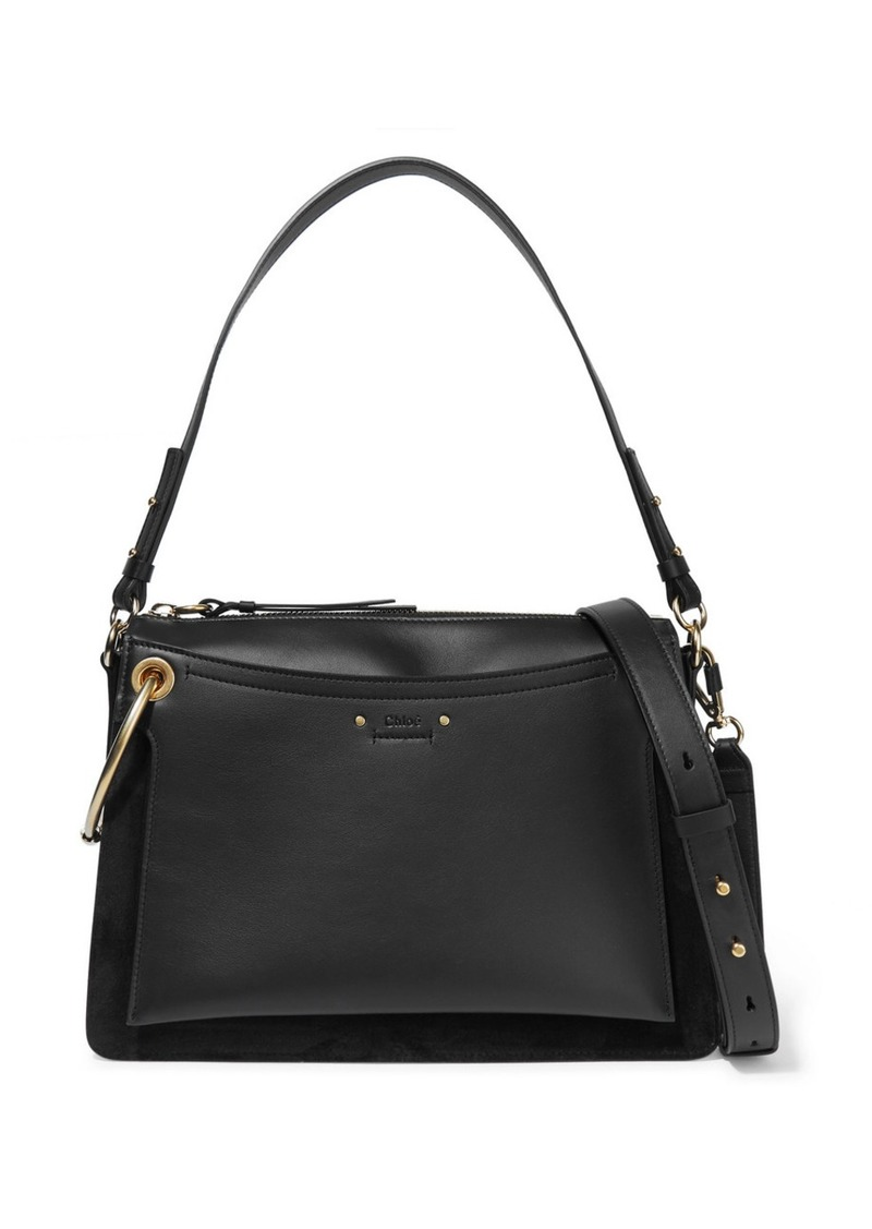bde14a6a7a75 Chloé Roy Medium Leather And Suede Shoulder Bag