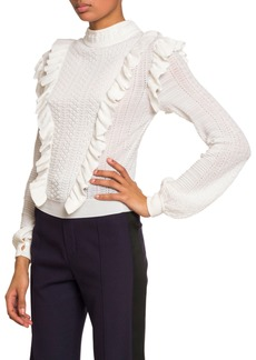 Chloé Ruffle-Front High-Neck Sweater