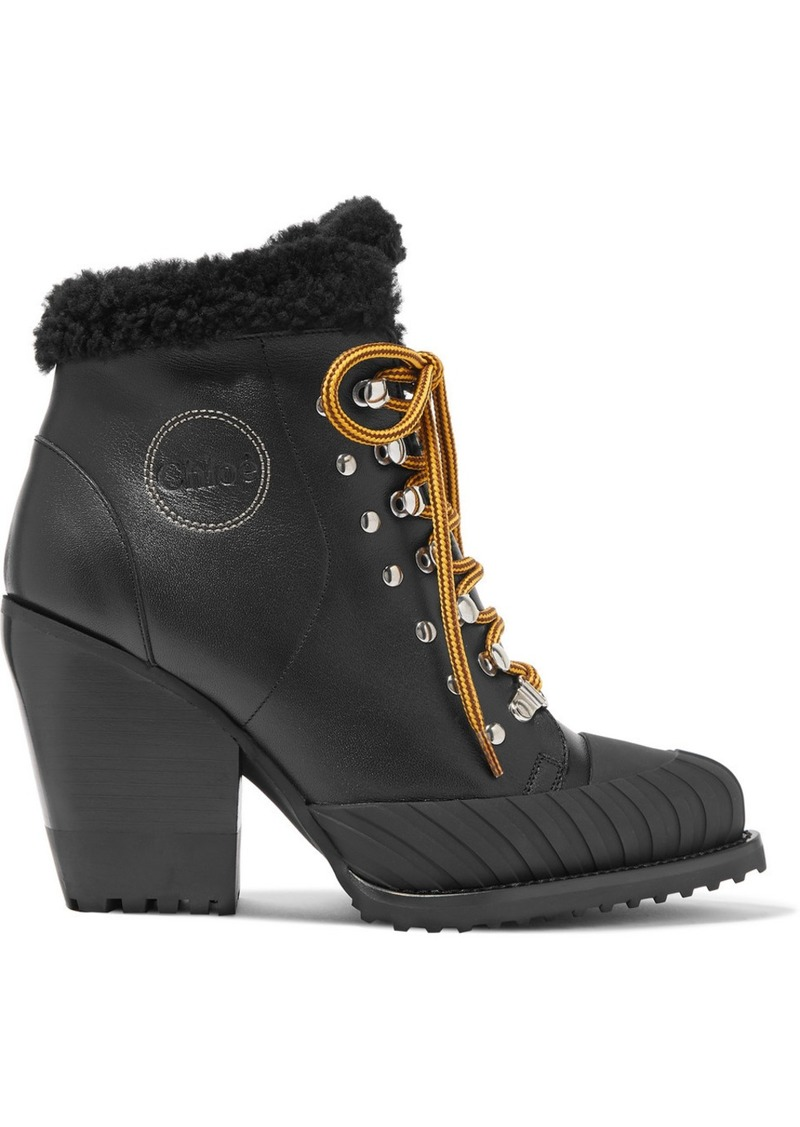 Chloé Rylee Shearling-lined Leather Ankle Boots
