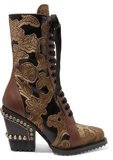 Chloé Rylee Studded Brocade And Appliquéd Leather Ankle Boots