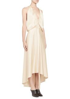 Chloé Satin Crepe Strappy Ruched V-Front Dress