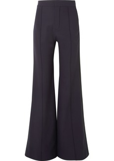 Chloé Satin-trimmed Stretch-wool Wide-leg Pants