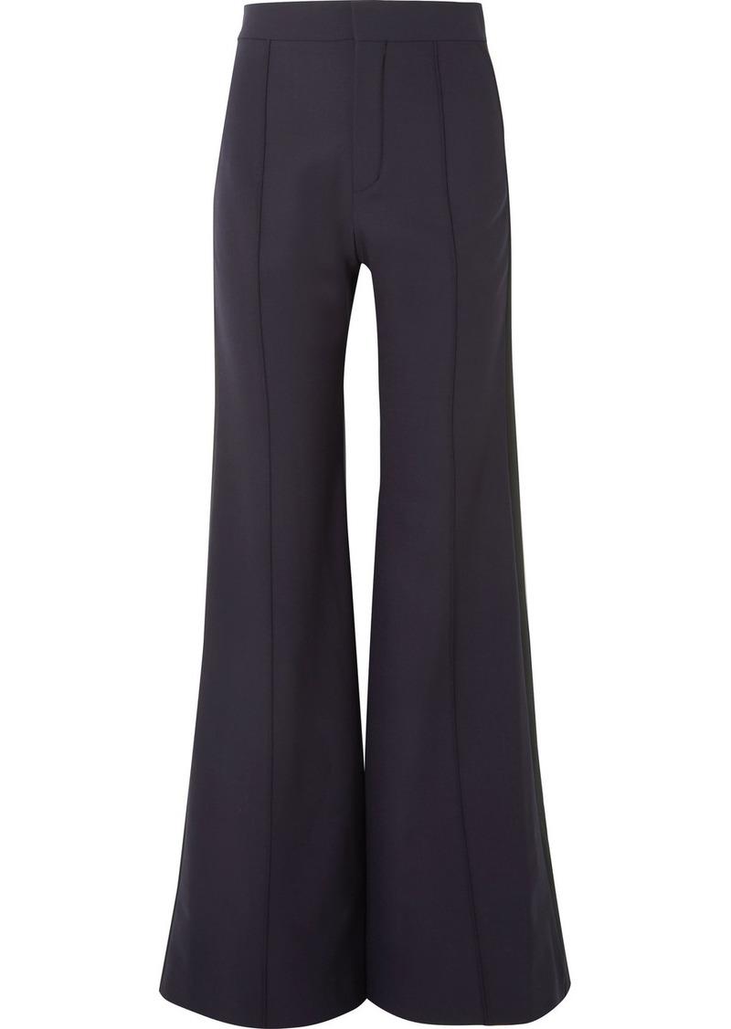 Chloé Satin-trimmed Stretch-wool Wide-leg Pants