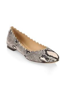 Chloé Scallop Python Leather Ballet Flats