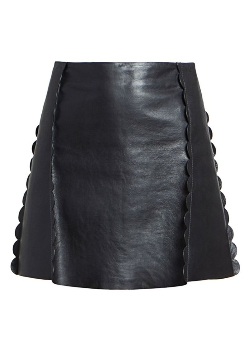 Chloé Scalloped Leather Mini Skirt