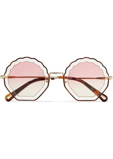 Chloé Scalloped Round-frame Gold-tone And Tortoiseshell Acetate Sunglasses