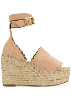 Chloé scalloped trim wedges