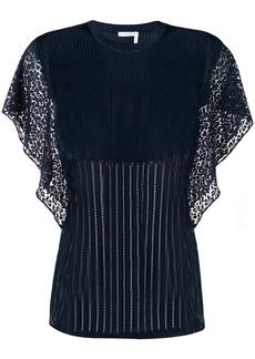 Chloé sheer rib knit flutter sleeve top
