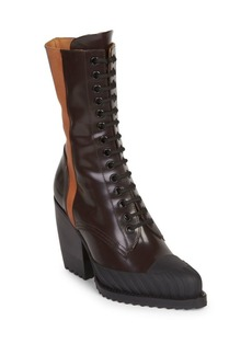 Chloé Shiny Lace-Up Leather Booties
