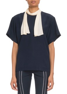 Chloé Short-Sleeve Contrast Scarf-Tie Blouse