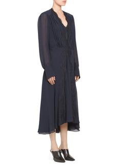 Chloé Silk Georgette Lace Trim Long Dress