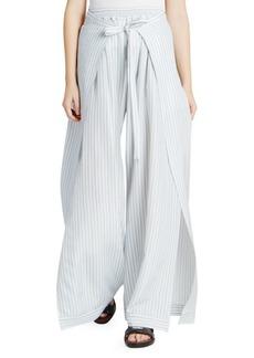 Chloé Silk Striped Tie-Front Pants